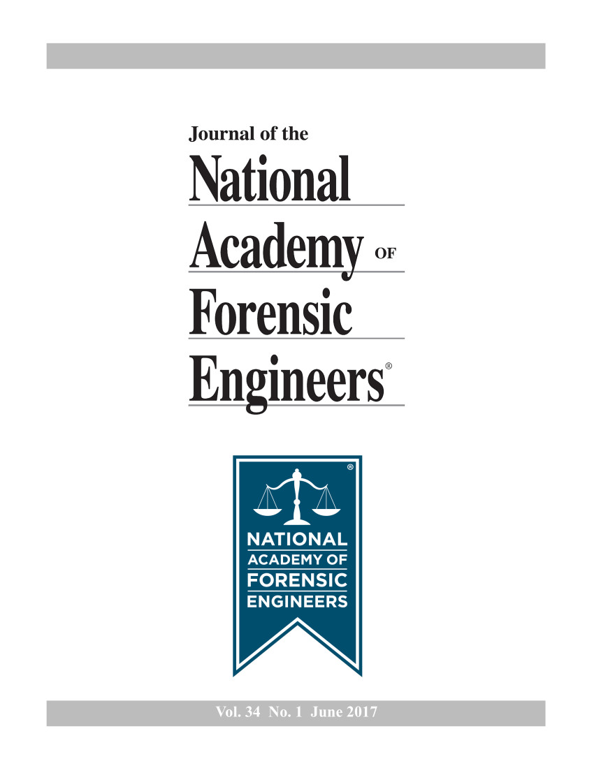 Cover of the Journal of the National Academy of Forensic Engineers